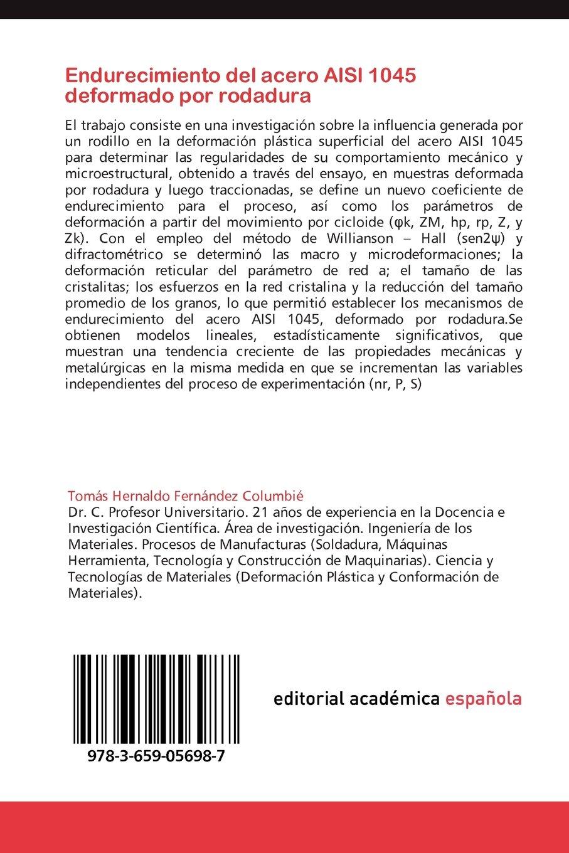 Endurecimiento del Acero Aisi 1045 Deformado Por Rodadura: Amazon.es: Fernandez Columbie Tomas Hernaldo, Quintana Puchol Rafael, Morales Rodriguez Felix ...