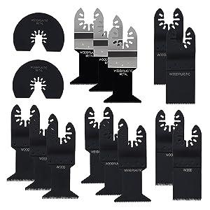 15 pcs Multitool Blades, Lichamp Mixed Precision Quick Release Multi Tool Oscillating Saw Blades for Metal Wood Plastic, Flush Cutting Blades Fit Bosch Black & Decker Dewalt Porter Cable