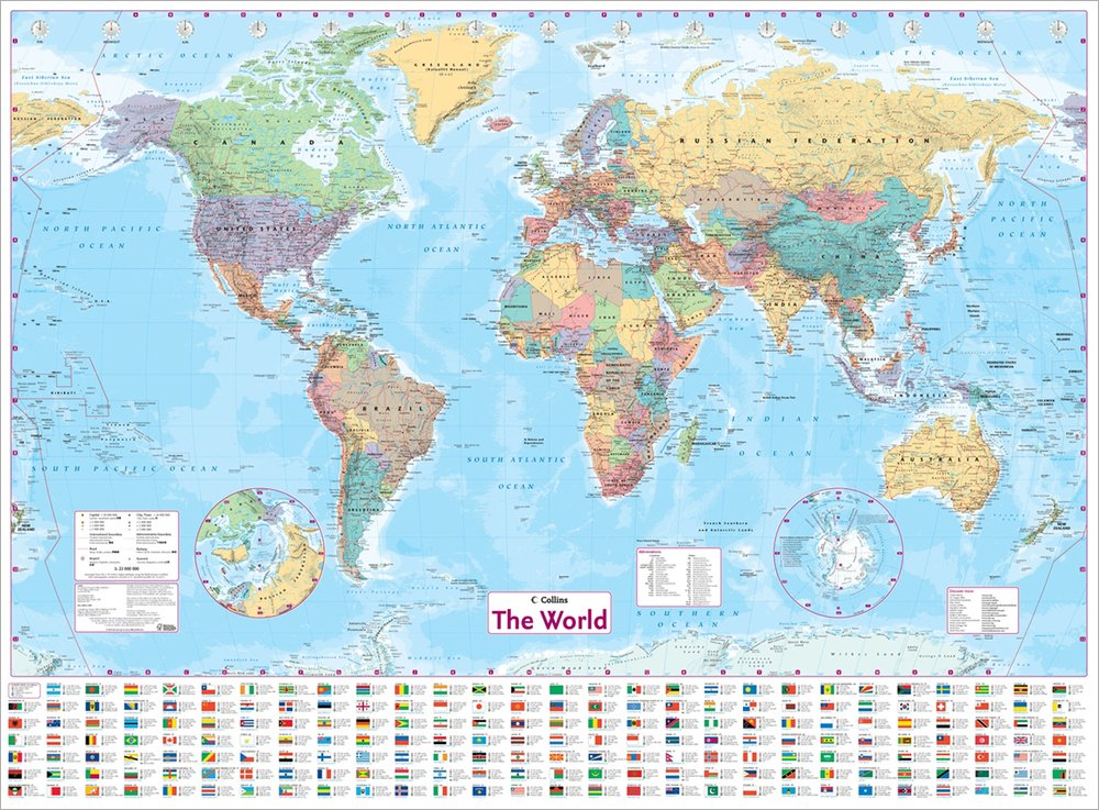 Collins World Wall Laminated Map World Map Amazoncouk - Wall maps of the world