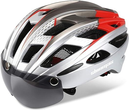 Shinmax Casco Bicicleta con luz, Certificación CE,con Visera Magnética Seguridad Ajustable Desmontable Deporte Gafas de Protección Ligera para Montar ...
