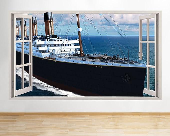 tekkdesigns C360 Titanic Barco mar Vida Ventana Adhesivo Pared 3D Arte Pegatinas Vinilo habitación: Amazon.es: Hogar