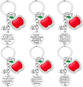 Teacher Gifts for Women - 6PCS Teacher Keychain Teacher Appreciation Gifts, Thank You Gifts for Teachers, Birthday Valentine's Day Christmas Gifts for Teachers