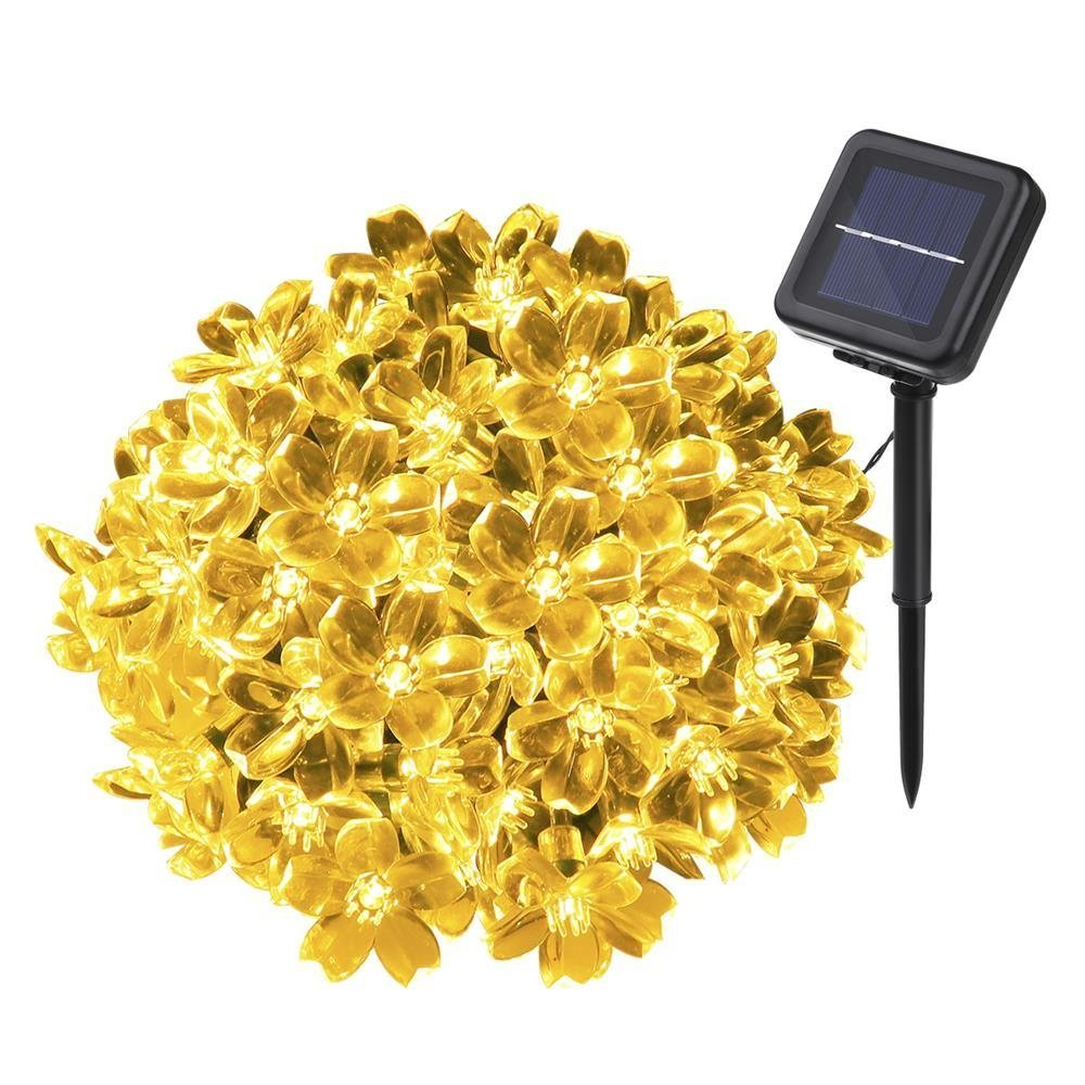 Solar Lichterkette, YUNLIGHTS 50 LED Wasserfeste Solar Blumen ...