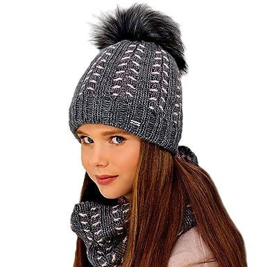 OZZIOR Damen Winter Beanie Strickm/ütze 3 in 1 mit Bommel Loop Schal Gef/üttert Warm und weich Chunky M/ütze Schal Set f/ür Sport Outdoor