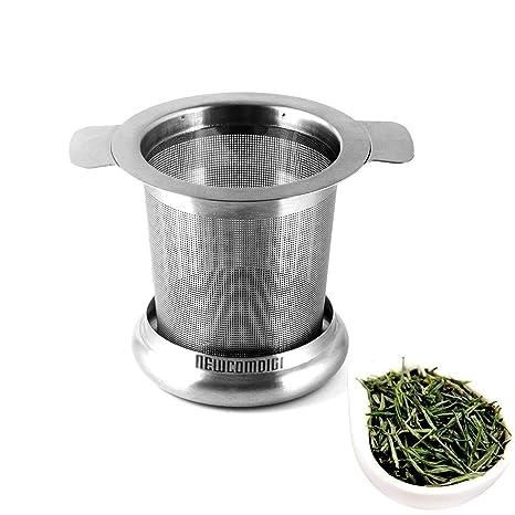 Newcomdigi Infusor de Té de Acero Inoxidable Colador Filtro con Tapa y Asa para Tazas de Té Café Ollas Té a Granel Hojas de Té Sueltas