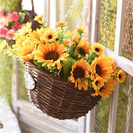 Amazon.com: EXDJ Garden Home wall Willow hanging basket flower pot ...