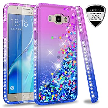 premium selection e90e4 e885f LeY Galaxy J5 2016 Case with Tempered Glass Screen Protector [2 pack], Girl  Women 3D Glitter Liquid Cute Personalised Clear Silicone Gel Shockproof ...