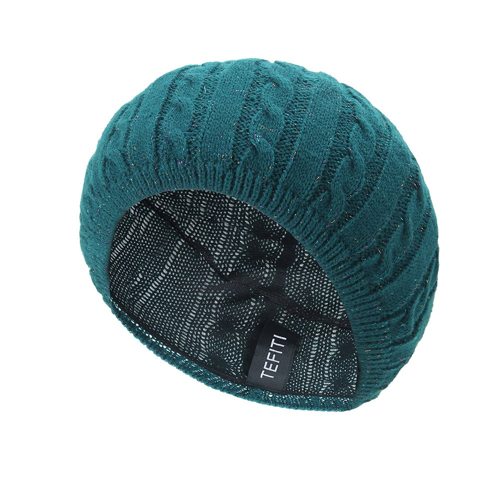 TEFITI Knitted Beret Hat for Woman by, Fall Or Spring Beanie, Hair Net Lined and Adjustable,Roomy Soft Lightweight, Banish Bad Hair Days in Comfort and Style, Green