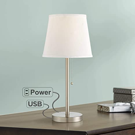 Pleasant Flesner Modern Accent Table Lamp With Hotel Style Usb And Ac Power Outlet In Base Brushed Steel White Empire Shade For Living Room Family Download Free Architecture Designs Embacsunscenecom