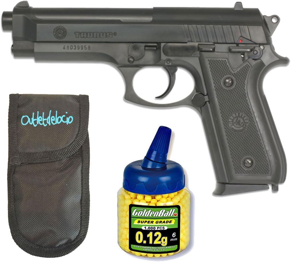 Pack Pistola airsoft Taurus PT92. Calibre 6mm. + Funda Portabolas + Biberon 1000 bolas. 15443/21993/23054