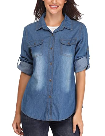 36845749779 Denim Shirt Women Button Up Long Sleeve Lightweight Washed Jean Shirts Tops  Dark Blue. Roll over image to zoom in. MISS MOLY