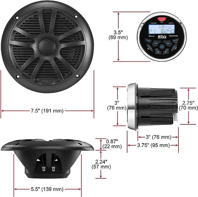 par Paire 2 Haut-parleurs Marins Compatible avec Boss Audio MR50W 2 Voies 5,25 13,50 cm 135 mm 75 Watts rms 150 Watts Max Bateau Piscine /étanche