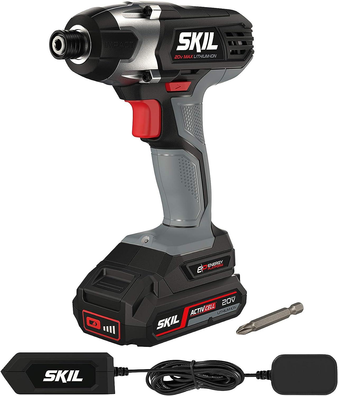 SKIL F0152905AA F0152905AA-Atornillador de Impacto inalámbrico (batería de 1,5 Ah, 18 V, par de torsión Alto, luz de Trabajo LED, Interruptor de Gas), Gris