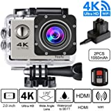 4K Sport Action Camera Ultra HD Camcorder 16MP WiFi Waterproof Sports Cam 100ft Diving Underwater Camera by FJOY with 170 Degree Wide Angle, Rechargeable Battery, Waterproof Case,18 Accessories Kits for Swimming Skiing Diving Surfing Bike Motorcycle, Silver