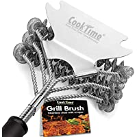 Grill Brush- Bristle Free Barbecue Grill Brush - 100% Rust Resistant Stainless Steel BBQ Grill Cleaner,Safe for Porcelain, Ceramic, Steel, Iron