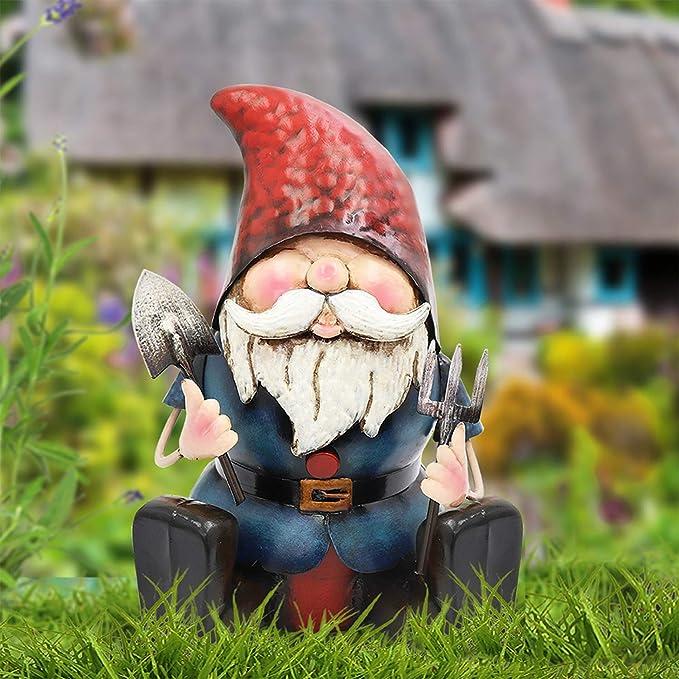 XFORT Gnomos de jardín, metal, No.PQ5010 Metal Gnome Ready to Dig: Amazon.es: Jardín