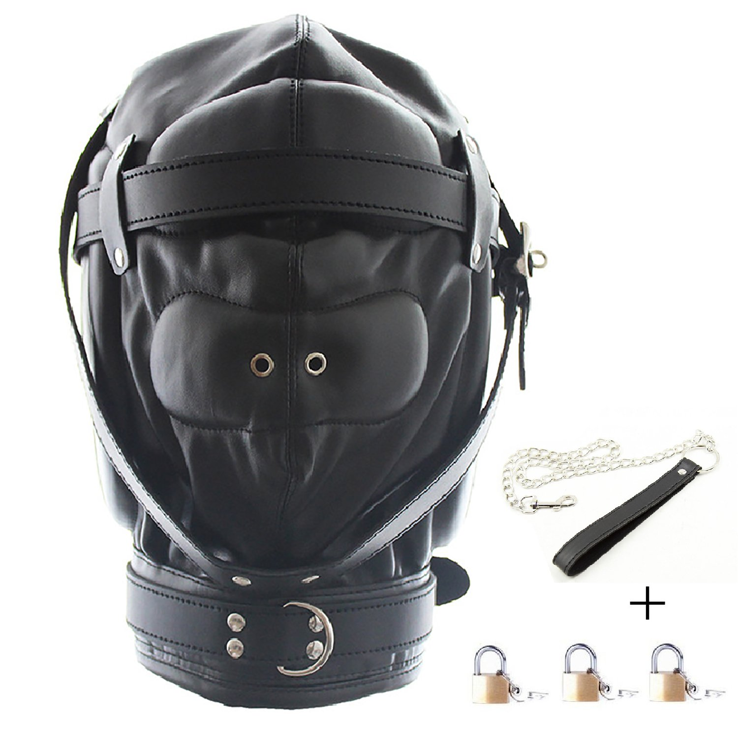 Leather Costume Head Mask Hood - Black Sealed Soft Leather Full Face Mask Nose Holes Breathable Lacing Harness Unisex Cosplay Headgear Mask (Padlock 3 & Pulling Rope 1)