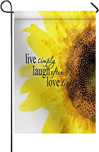 Vertical Double Sided Sunflower Decorative Garden Flags, Floral Quote Live Simply Laugh Often Love Deeply Printed BURLAP Yard Outdoor Decor - Weather Resistant & Double Stitched - 12 x 18 Inch