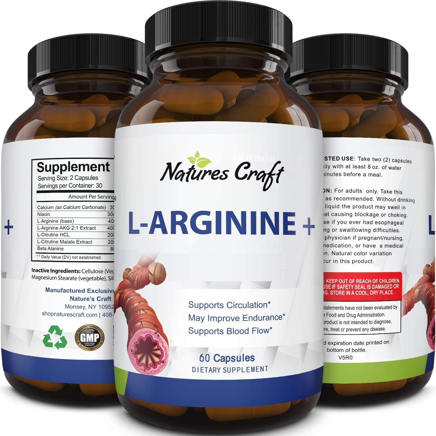 100% Pure L-arginine and L Citruline a Premium Amino Acids Strength for Pre Work Out and Energy Enhancement for Men to Support Nitric Oxide 1000 mg Per Capsules a Natural Supplement Booster