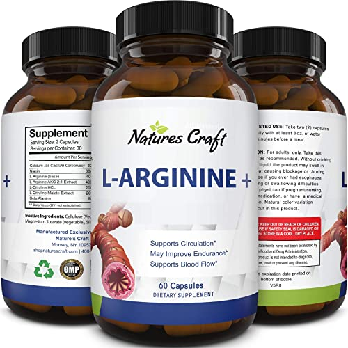 Purest L Arginine Supplement on the Market 60 Capsules Boost Nitric Oxide Levels, Endurance Full Time Energy Enhancement Potent and Effective for Men, Women and Teens Best L-Arginine