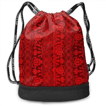 Amazoncom Drawstring Backpack Antique Irish Crochet Lace Rucksack