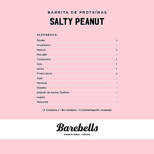 Barritas de Proteínas Barebells Salty Peanut (Sabor Cacahuete Salado) 12 Barritas x 55g, Bajo en Carbohidratos, Bajo en Azúcar, 20g Proteína por ...