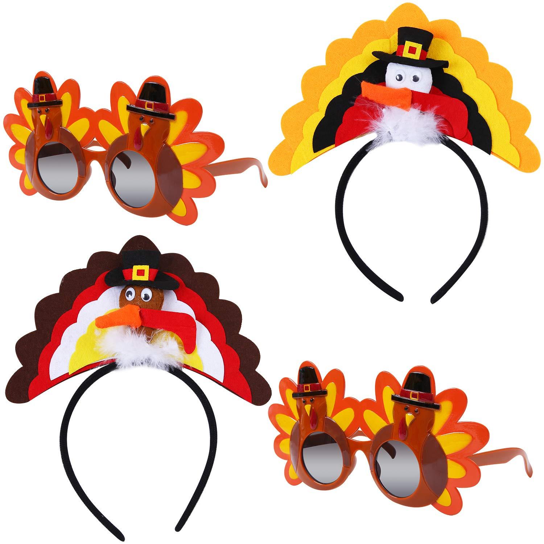 URATOT 4 Pack Thanksgiving Turkey Headbands Turkey Glasses Party Eyeglasses Thanksgiving Costume Decorations