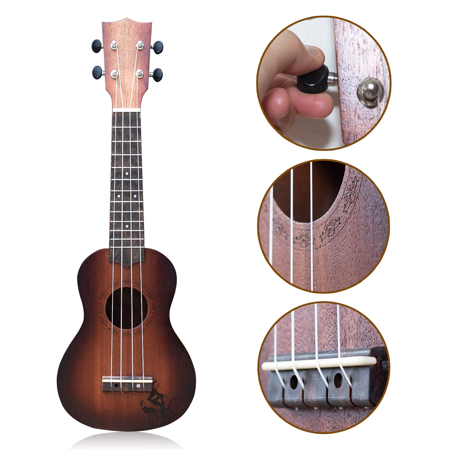 21 Inch Wooden Ukulele Guitar Soprano Kids Toy 4 Strings Musical Instruments Educational Learning with Picks Primary Tutorial Backpack for Toddler Beginner Keep Tone Anti-Impact YOLOPLUS