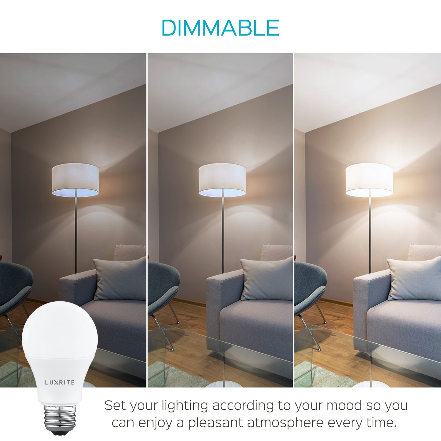 Energy Star Standard LED Bulb 9W 8 Pack 800 Lumens Perfect for Lamps and Home Lighting Luxrite A19 LED Light Bulb 60W Equivalent 5000K Daylight White Dimmable E26 Base Enclosed Fixture Rated