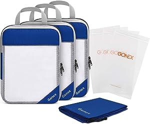 Gonex Compression Packing Cubes Set, Travel Suitcase Luggage Organizer 3pcs+ Shoe Bag+ 4 Zip Bags Deep blue