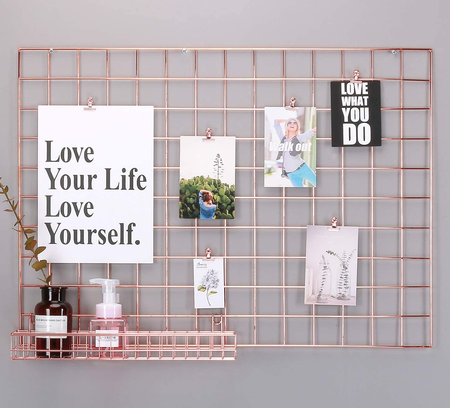 """Simmer Stone Rose Gold Wall Grid Panel for Photo Hanging Display & Wall Decoration Organizer, Multi-Functional Wall Storage Display Grid, 5 Clips & 4 Nails Offered, Set of 1, Size 21.2""""x 29.1"""""""