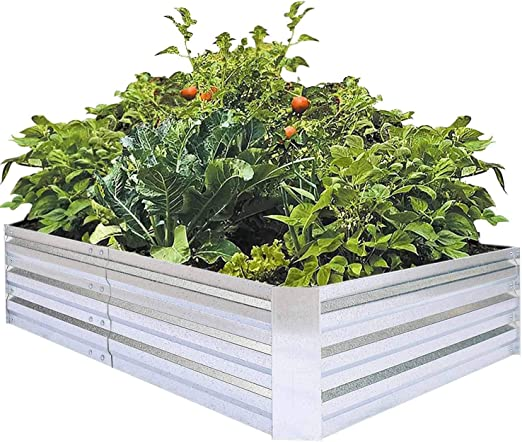 FOYUEE Macetero Grande de Metal Elevado para jardín para Verduras ...