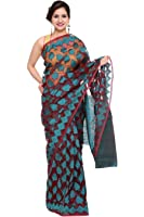 Khadi Cotton Silk Saree (DESIGNER-DOLLZ) B682005 Red & Blue Color
