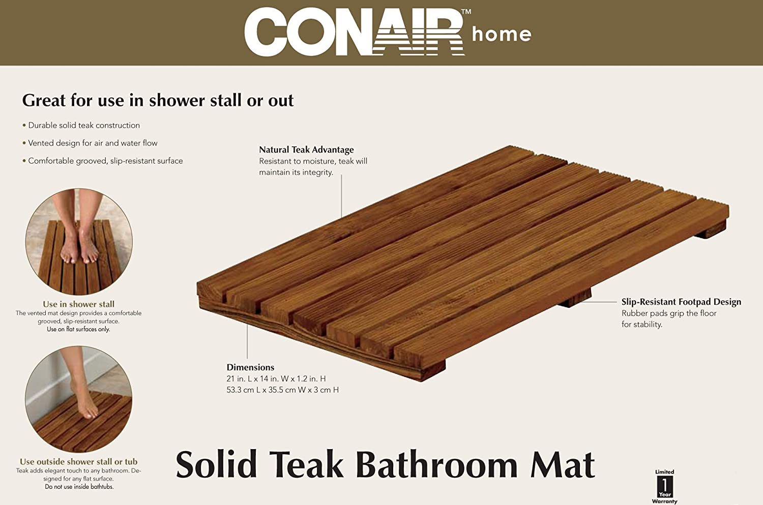 Design Teak Bath Mat amazon com conair home solid teak bathroom mat health personal care