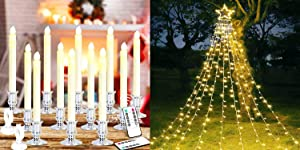 MAOYUE Window Candles Silver 12 Pack & Outdoor Christmas Decorations Star Lights 335 LED