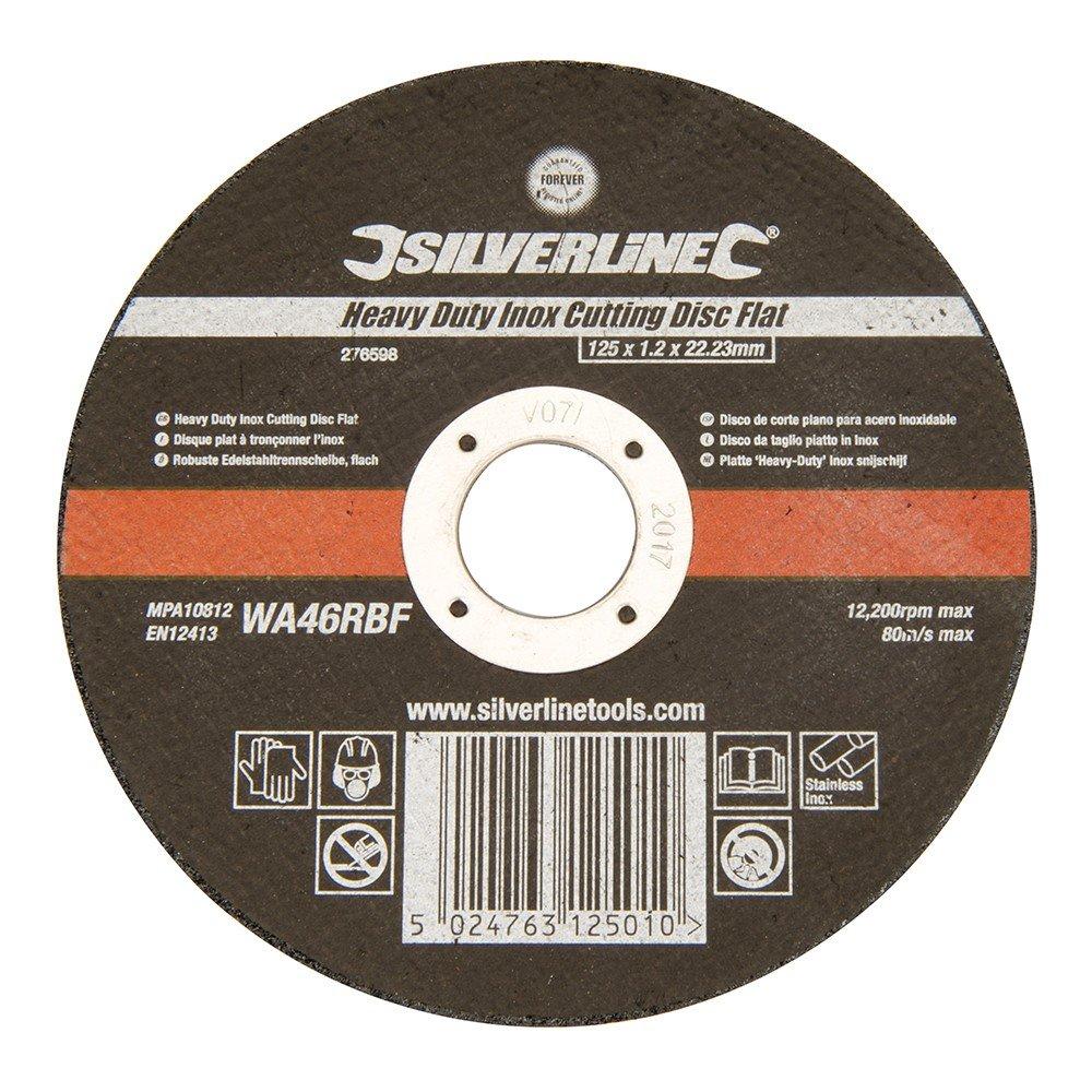 Silverline 276598 Disque plat /à tron/çonner linox 125 x 1,2 x 22,23 mm Noir