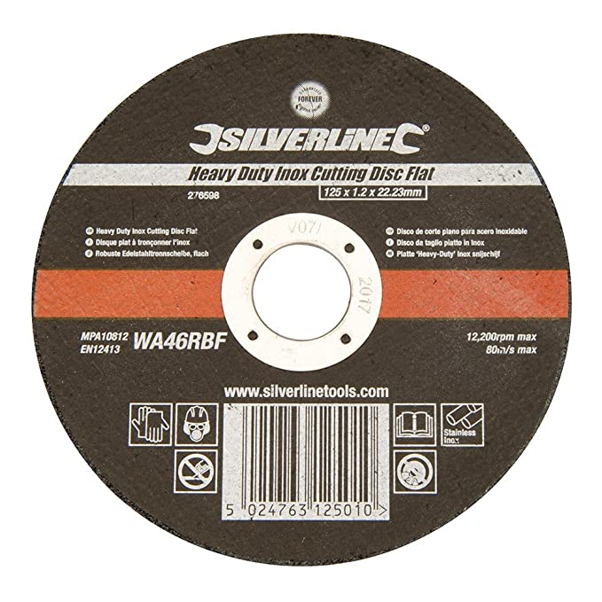 Silverline Tools - Heavy Duty Inox Cutting Disc Flat - 125 x ...