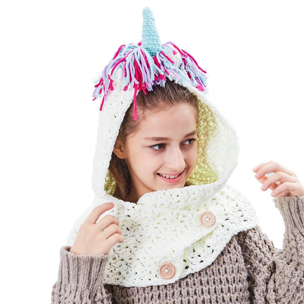 Amazon Icosy Unicorn Hooded Scarf Kids Crochet Cartoon Hat