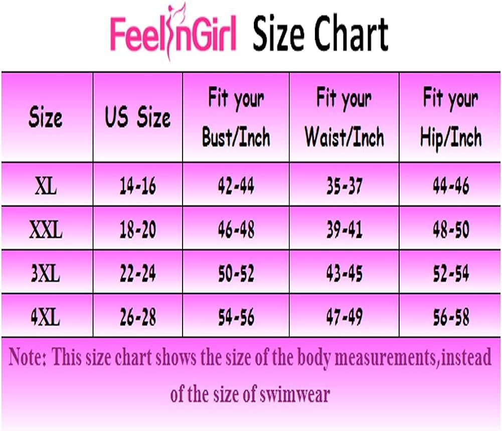 FeelinGirl Womens Plus Size Mesh Swimsuit Two Piece Pin up Tankini Swimwear
