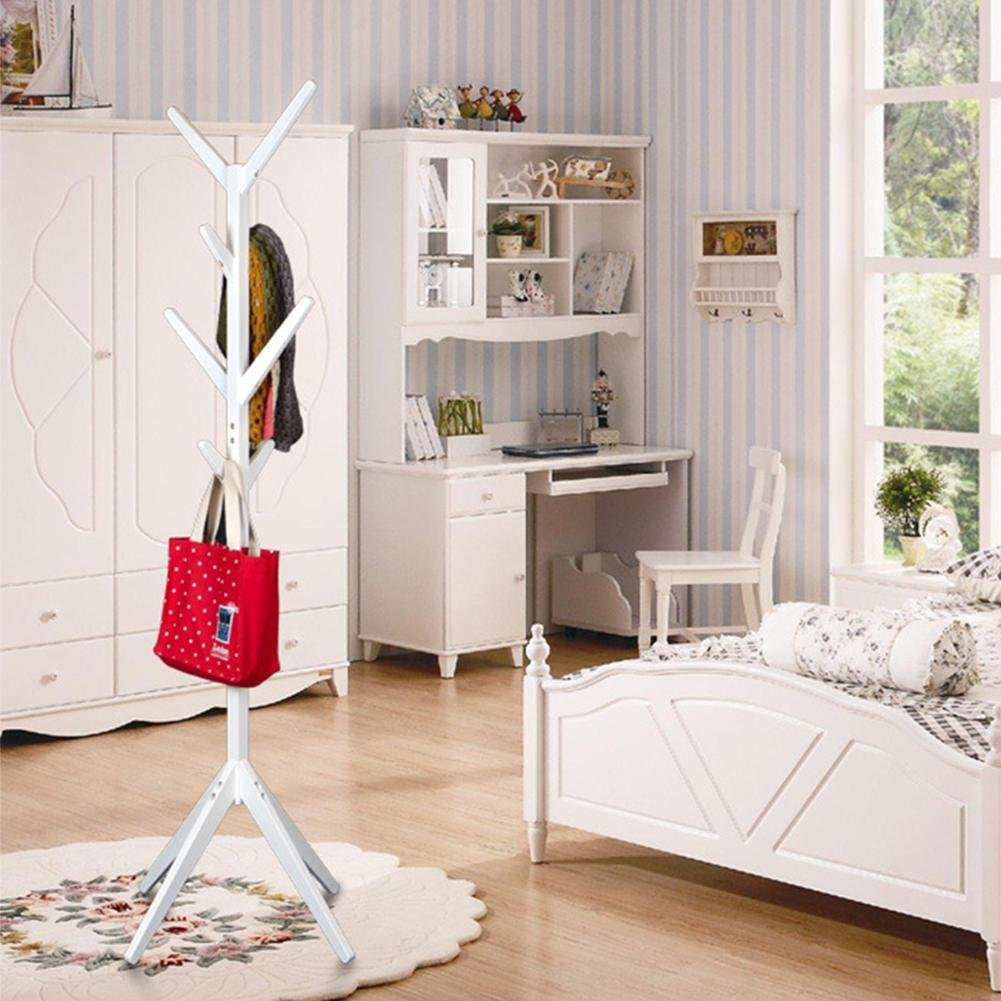 poportemanteau pie madera Songmics ropa estantería zapatero moderno Simple salón aterrizaje percha decorativo, blanco