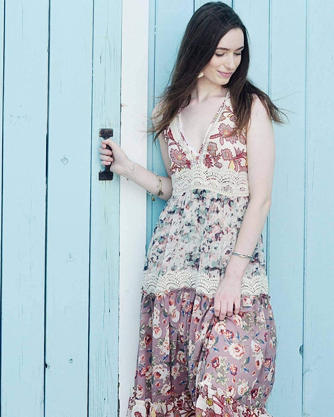 3b35fe78436 Amazon.com  Anthropologie Cabaret Floral Maxi Dress by Ranna Gill Sz M -  NWT  Clothing