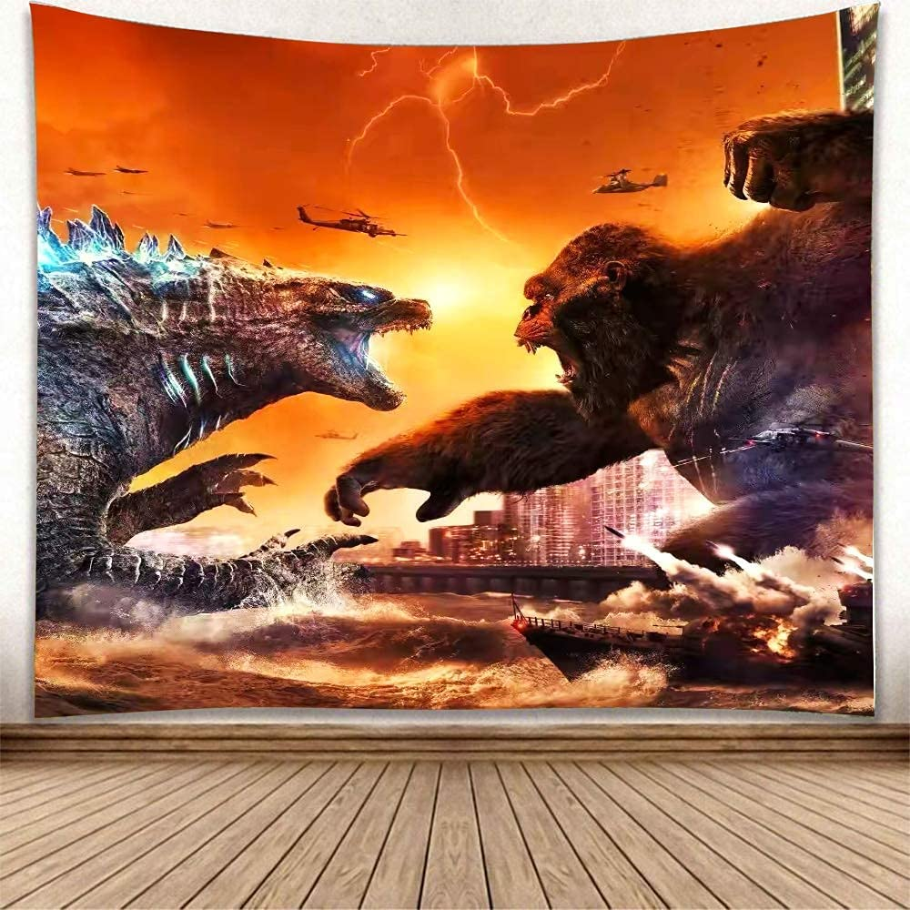 Godzilla Tapestry Godzilla Vs King Kong Poster Funny Tapestries Movie Monster Theme Party Supplies Wall Hanging Decoration For Apartment Home Art Wall Tapestry For Aesthetic Room Decor…