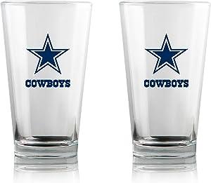 Duck House NFL Clear Highball Pint Glasses   Premium Glassware   Lead-Free   BPA-Free   16oz   Set of 2