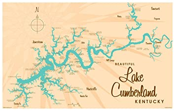 photo relating to Printable Map of Kentucky named Lake Cumberland Kentucky Classic-Style and design Map Artwork Print Poster by way of Lakebound (12\