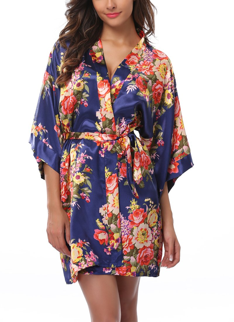 1stmall Floral Satin Kimono Short Style Bridesmaids Robes for Women Navy Blue-L