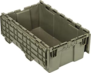 "Quantum QDC2012-7 Plastic Storage Container with Attached Flip-Top Lid, 20"" x 12"" x 7"", Gray"