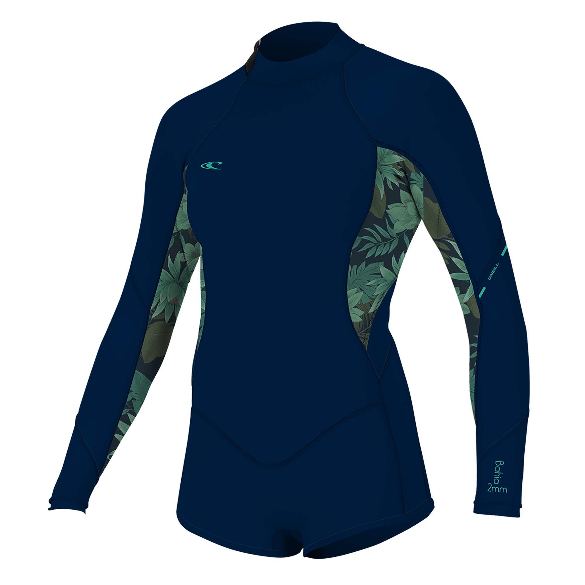 O'Neill Wetsuits Women's Bahia 2/1mm Back Zip Long Sleeve Short Spring, Abyss/Faro, 4
