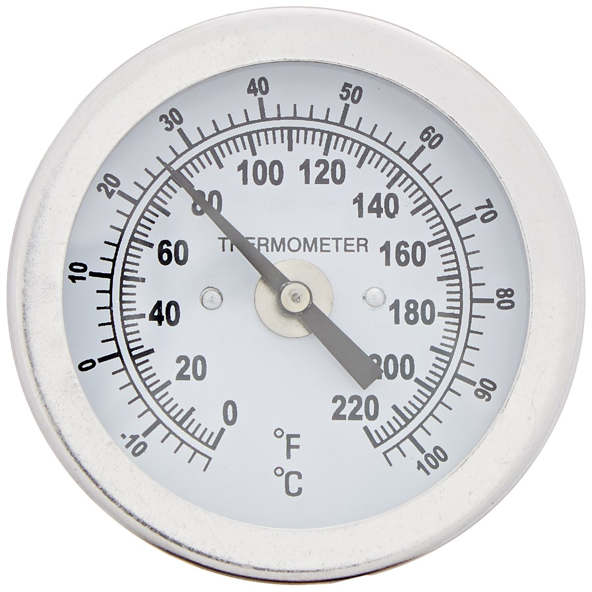 "PIC Gauge B2B2-HH 2"" Dial Size, 0/220°F and -18/104°C, 2'' Stem Length, Back Angle Connection, Stainless Steel Case, 316 Stainless Steel Stem Bimetal Thermometer"