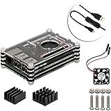 4 in 1 Professional Kit for Raspberry Pi 3 Model B, black 9 Layers Case Box Cooling Mini Fan Micro USB Cable Kühler (das Schwarz)