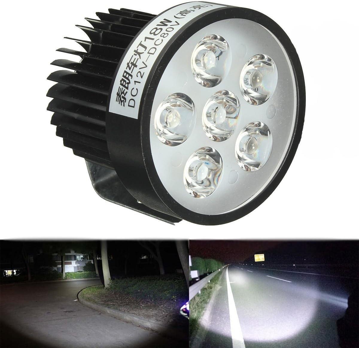 KaTur Motorcycle 18W 6 LED Headlight Work Driving Spot Light Fog Lamp Scooter 12//24V